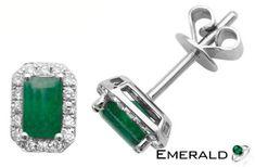 This elegant pair of emerald earrings will enhance your style. Emerald Earrings, Emerald Jewelry, Emerald Gemstone, Sapphire Diamond, Diamond Studs, Stud Earrings, I Love Jewelry, Unique Jewelry, Green Diamond