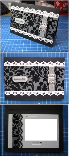 Black & white handmade wedding card - Han-crafted (c)
