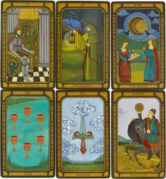 The Golden Tarot (by Liz Dean) is inspired by both the Rider-Waite and historical Visconti-Sforza decks. The art is attractive and suitably historical on the majors and the court cards, but the suits are relatively plain, undecorated cards with pips instead of illustrated scenes. Not to be confused with Kat Black's Golden Tarot.