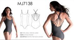 NWT Mirella MJ7138 Knotted Twist Back Leotard Steel Gray Ladies $34
