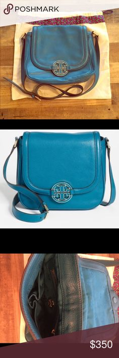 Tory Burch-Electric Eel Amanda Crossbody Bag Limited Edition (in Electric Eel). Features two drop pockets and one zipper pocket. Includes matching dust bag. Condition: Very Good Tory Burch Bags Crossbody Bags