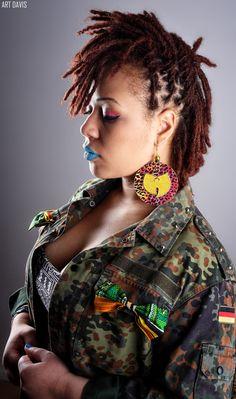 Photo by Art Davis : www.IAmArtDavis.com #locs #wutang #naturalhair #ameyostylez #designer #earrings : www.ameyostylez.com #redlocs #africanprint #bijouxafro #waxprint #blackart #africaearrings #africanearrings #pagne #pagneafricain #jewelry #bijoux