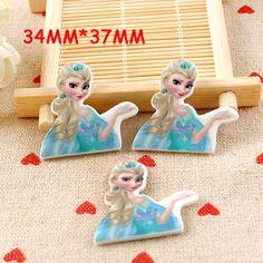 50pcs/lot 34*37MM Cartoon Character Princess Elsa Flatback Resin Planar DIY Craft Resina For Home Decoration Accessories DL-153