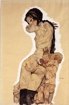 Egon Schiele,Woman with Homunculus, 1910.Gouache, watercolour and pencil