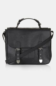 Topshop Snake Embossed Faux Leather Satchel, Large available at #Nordstrom