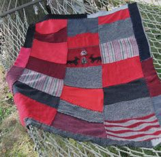 Felted Wool Sweater PATCHWORK BLANKET made From by heartfeltbaby, $109.00