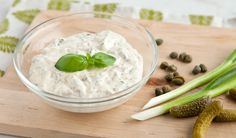 Lighter Tartar Sauce with Basil. Lighter Tartar Sauce with Basil. Light on fat but not flavour this tangy tartar sauce is made with low fat mayonnaise. Best Tartar Sauce Recipe, Souse Recipe, Sauce Tartare, Burger Toppings, Fish Dishes, Seafood Dishes, Healthy Treats, Food And Drink, Cooking Recipes