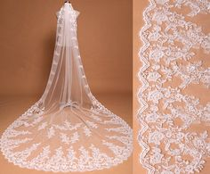 It made of Gorgeous Alencon Lace applique scattered on the veil with Comb attach  Very detailed work and It look Classic & Elegant!  Color: