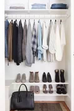 open closet in neutrals + blue #home 5 Simple Steps to a Streamlined + Stylish Closet   Rue