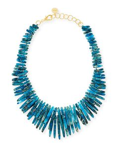 Y296G Nest Turquoise Jasper Spike Necklace