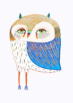 The Blue Winged owl by Ashley Percival. illustration, owl, art, design, illustrator,