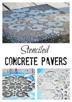 Stencil Your Own Concrete Pavers!  www.thistlewoodfarms.com