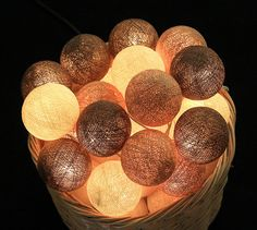 35 Choco Brown Cotton Ball String Lights Patio by LivingPastel