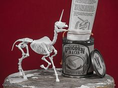 This is a digitally sculpted, 3D printed and highly articulated Unicorn skeleton. In a can! The model consists of 30 parts, with 27 points of
