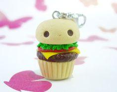 Kawaii Burger Cupcake, Polymer Clay Handmade Food, Cute Gift