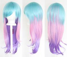 28'' Long Straight Layered Fade Cyan Blue Pink Lavender Purple Cosplay Wig   eBay