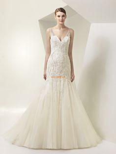 Meerjungfrau-Linie/Mermaid-Stil 3/4 Arm Applikation Brautkleider 2014