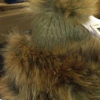 Fur Pom Pom hat Mocha 2 left now sale now 20% off Limited Availability
