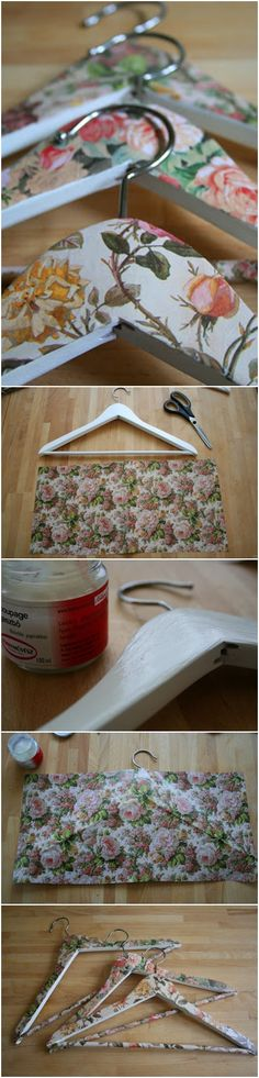decoupage: Rosy hanger what a easy arts & crafts for resident to do. Plus they would have nice personalized hangers Easy Arts And Crafts, Diy And Crafts, Diy Projects To Try, Craft Projects, Ideas Paso A Paso, Decoupage, Personalized Hangers, Wooden Hangers, Diy Hangers