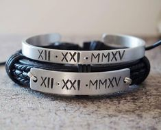 Sterling Silver Couples bracelets, Personalized couples bracelets, Roman numeral bracelet, Anniversary gift, boyfriend and girlfriend gift #girlfriendanniversarygifts