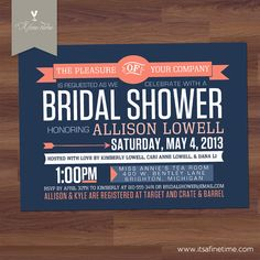 "Bridal Shower Invitation - ""Retro Contemporary"" -  Modern, Poster - Denim, Navy, Blue, Coral, Peach - Couples, Baby, Birthday (Printable)"