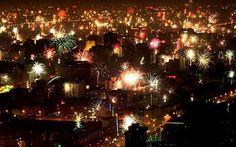 Chinese New Year: Fireworks illuminate the skyline of Guiyang in Guizhou Province.