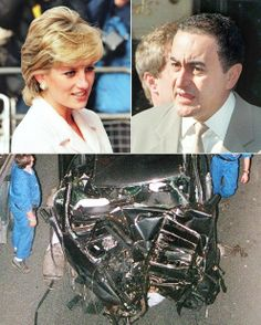 *PRINCESS DIANA & DODI FAYED ~This combo image shows Princess Diana, Dodi al-Fayed and a photo of the wreckage of the car in which they died on Aug. in Alma tunnel in Paris. Princesa Diana Y Dodi, Princess Diana And Dodi, Diana Dodi, Princess Diana Funeral, Princess Diana Photos, Princess Of Wales, Princess Diana Autopsy, Lady Diana Spencer, Dodi Al Fayed