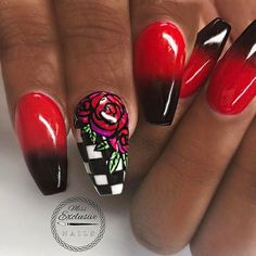 #Repost @missexclusivenails ・・・ ❤️🖤❤️🖤❤️ - - @missexclusivenails - 🖤❤️🖤❤️🖤 - This design was featured in @tammytaylor 's weekly email in a step by step I did a couple wee