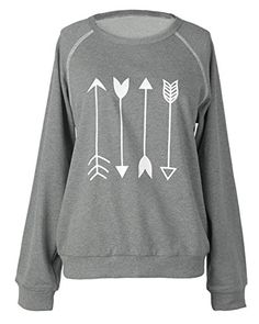 Armear Womens Arrow Graphic Crewneck Raglan Sleeve Non Hooded Pullover Sweatshirt *** Read more at the image link.