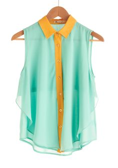 Neon Placket Sheer Collared Blouse