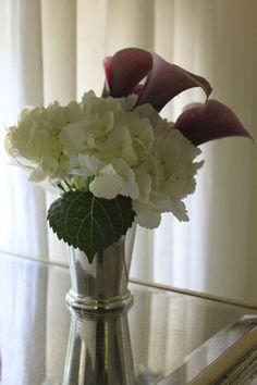 Mint julep cup, white hydrangea, mini calla lilies