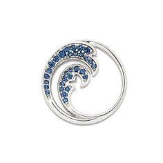 Wave Pendant with Blue Sapphires in 14K White Gold - 22mm