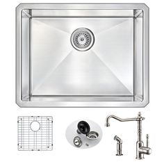 Anzzi Vanguard 23-inch Undermount Single Bowl Kitchen Sink With Locke Brushed-nickel Faucet