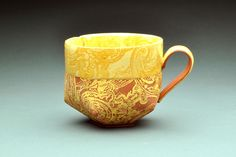 Lauren Karle. Yellow double paisley mug