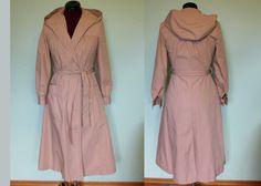 70s princess hooded trench raincoat Bay Mist. $40.00, via Etsy.