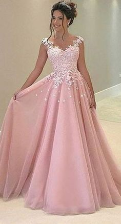 Cute Pink chiffon lace prom dress, pink evening dress