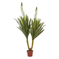 nearly natural Artificial Flowering Yucca Plant, Green