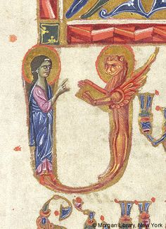 Initial formed of nimbed angel, right hand raised toward Evangelist Symbol of Mark nimbed, erect, holding book | Gospel Book | Cilicia, Sis, 1274 (modern day Turkey, Kozan) | The Morgan Library & Museum