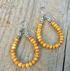 """Mustard yellow hoop earrings with silver accents. Small, yellow Czech glass beads with silver, approx 2"""" in total hanging length. Very light weight!"""