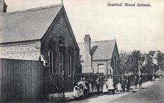 london, southall, old photo of the mixed schools.c.1910.