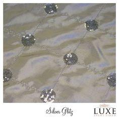 #www.luxeeventlinen.com Silver Glitz Linen