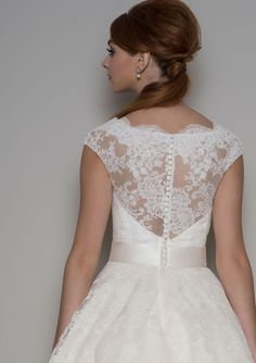 ivory lace illusion neck tea length vintage wedding dress