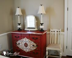 Love the painted design on this chest.  Would look great in any color! A French Chest Cedar Hill Farmhouse