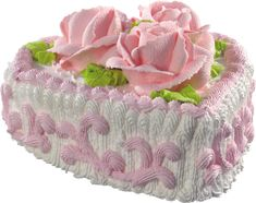 White Heart Cake with Pink Roses PNG Picture