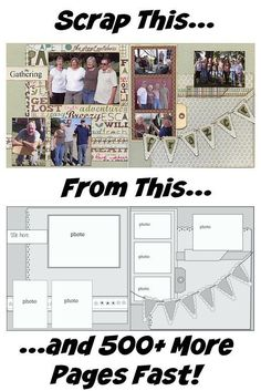 Say Goodbye To Scrappers Block Forever Discover How To Start and Finish A Layout In Minutes Not Hours 525 New and Inspiring Scrapbooking Sketches Is a Brand New Ebook Fro. Scrapbook Layout Sketches, Scrapbook Templates, Scrapbook Designs, Scrapbook Paper Crafts, Scrapbooking Layouts, Art Sketches, Wedding Scrapbook, Baby Scrapbook, Scrapbook Cards