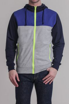Charles & 1/2 Color Block Track Jacket with Neon Zip    Material: 60% Cotton/40% Polyester