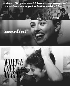 """""""Q:""""If you could have any magical creature as a pet, what would it be?"""" BBC Merlin Cast"""" im sorry but i have to point out, """"asker""""? Colin Morgan, Bradley James, Bbc, It's Over Now, Merlin Fandom, Merlin Cast, Merlin And Arthur, Superwholock, Best Tv"""