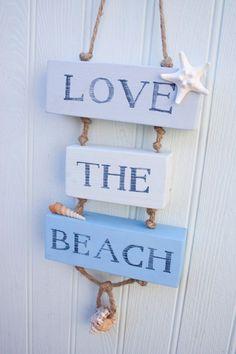 Love the Beach Wooden Sign, Beach Decor, Surfer, Coastal Sign