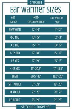 Crochet Ear warmer size chart which can be used as a crochet headband size chart as well. Be sure to save it! Crochet Ear warmer size chart which can be used as a crochet headband size chart as well. Be sure to save it! Free Form Crochet, Mode Crochet, Crochet Chart, Crochet Baby, Knit Crochet, Crochet Stitches, Crochet Hook Sizes Chart, Learn Crochet, Crochet Needles