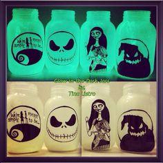 Glow-in-the-Dark Nightmare Before Christmas Mason Jars by, Tina Listro!!! Happy Early Halloween!!!